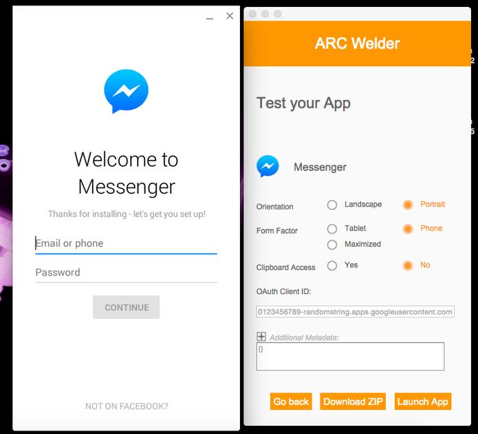 Facebook Messenger rodando no Google Chrome, sem emuladores adicionais (Foto: Reprodução/Melissa Cruz)