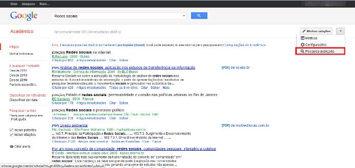 Atalho para a pesquisa avançada do Google Acadêmico (Foto: Reprodução/Lívia Dâmaso)