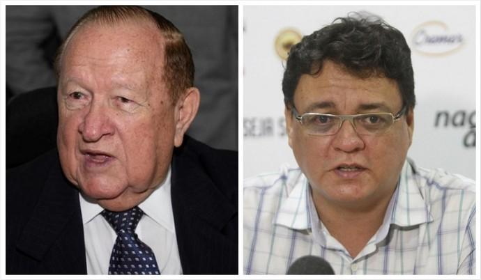 Manoel Ribeiro e André Cavalcante disputam a presidência do Remo (Foto: Arte: GloboEsporte.com/pa)