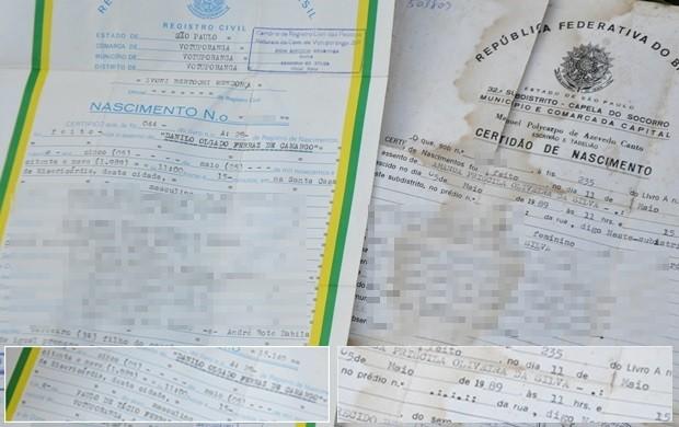 Certidões mostram dia, mês, ano e horário de nascimento iguais (Foto: Natália Clementin / G1)