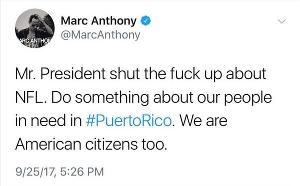 A mensagem de Marc Anthony pedindo que Donald Trump cale a boca (Foto: Twitter)
