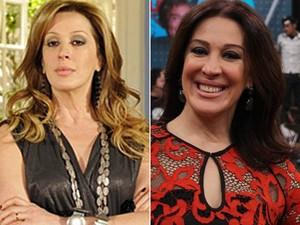 Claudia Raia: antes e depois das sobrancelhas (Foto: Mais Você/TV Globo)