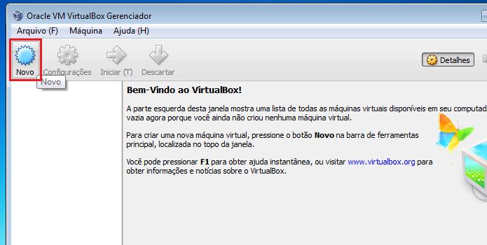 Clicando no botão Novo do Virtualbox (Foto: Reprodução/Edivaldo Brito)