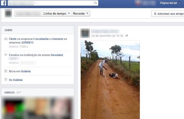 Adolescente posta em rede social foto de execução em Goiás (Foto: Reprodução/ Facebook)