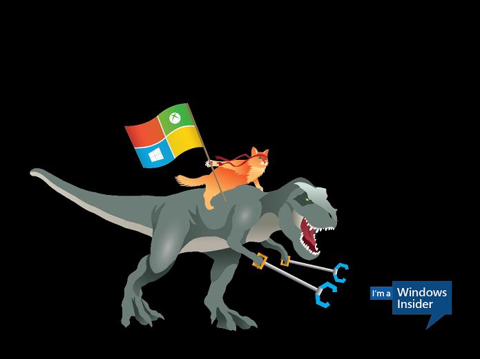 Ninja cat montado num T. Rex (Foto: Divulgação/Microsoft)