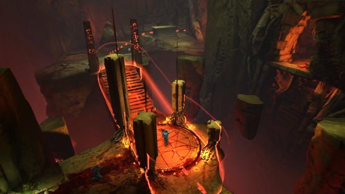 O mais bizarro no modo Warpath do novo Doom é que a área a ser conquistada se move no meio da partida (Foto: Reprodução/YouTube)