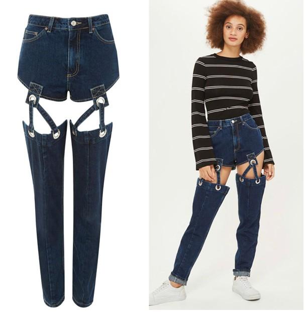 """Calça jeans com """"cinta-liga""""  (Foto: Divulgação)"""
