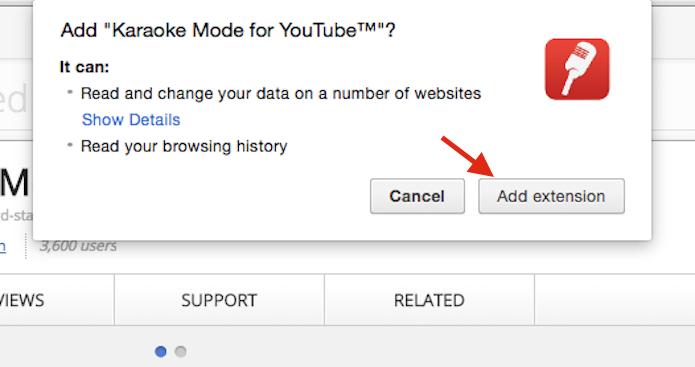 Confirmando a instalação da extensão Karaoke Mode for YouTube no Google Chrome (Foto: Reprodução/Marvin Costa)
