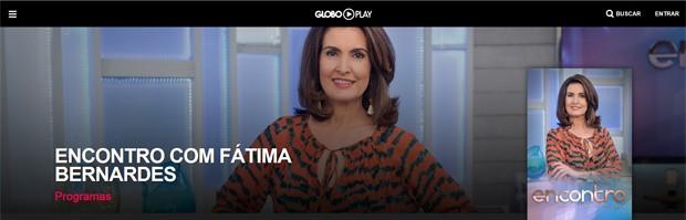 'Encontro com Fátima Bernardes' no Globo Play' (Foto: Divulgação/Globo Play/G1)