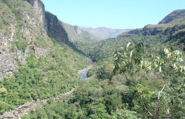 Rio São Jorge no Parque Nacional da Chapada dos Veadeiros. Um dos poucos lugares onde ainda é possível ver a exuberância das florestas do Cerrado (Foto: Danilo Prudêncio Silva/Wikimedia Commons)