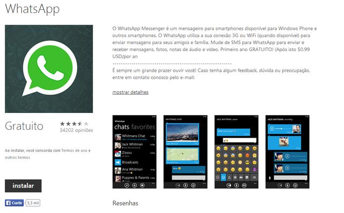 WhatsApp aparece como disponível na loja do Windows Phone após quase duas semanas da retirada (Foto: Reprodução/Elson de Souza)