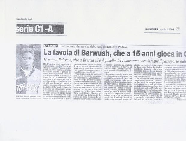 Reportagem Balotelli aos 15 anos jornal Gazzetta dello Sport (Foto: Reprodução)