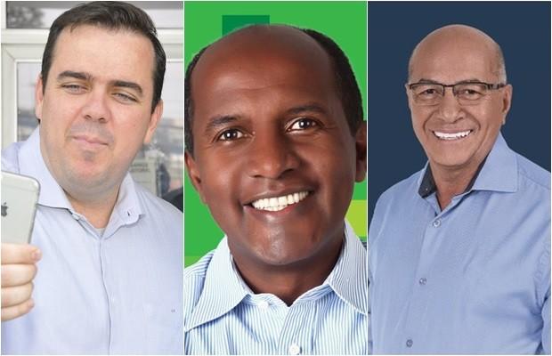 Candidatos Gustavo Mendanha, Marlúcio Pereira e Professor Alcides devem participar de debate, em Goiás (Foto: Montagem/G1)