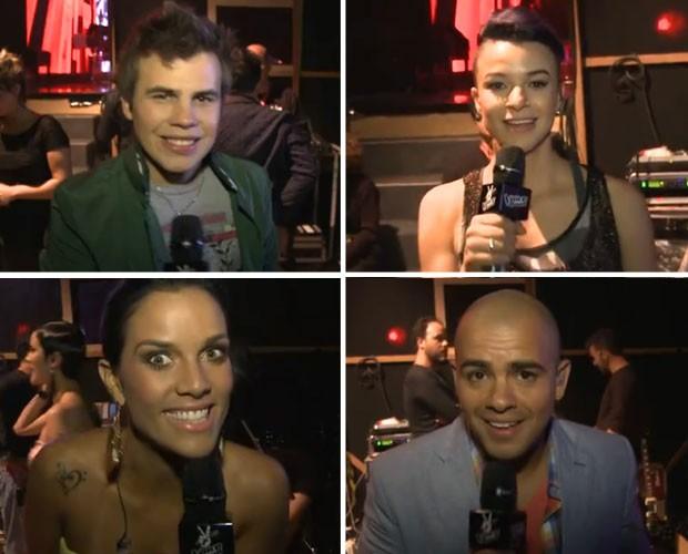 Minutos antes de se apresentarem no The Voice participantes se reúnem atrás do palco (Foto: The Voice Brasil / TV Globo)