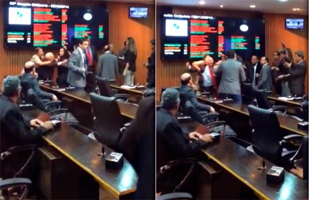 Após insultos, vereadores trocaram empurrões durante sessão realizada nesta segunda-feira (22) na Câmara de Natal (Foto: Assessoria de comunicação do vereador Marcos do PSOL)