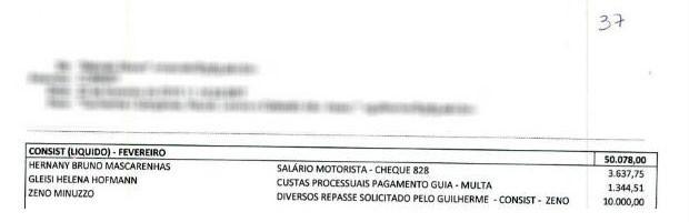 Planilha apreendida mostra pagamentos e inclui 'salário motorista' (Foto: Reprodução)