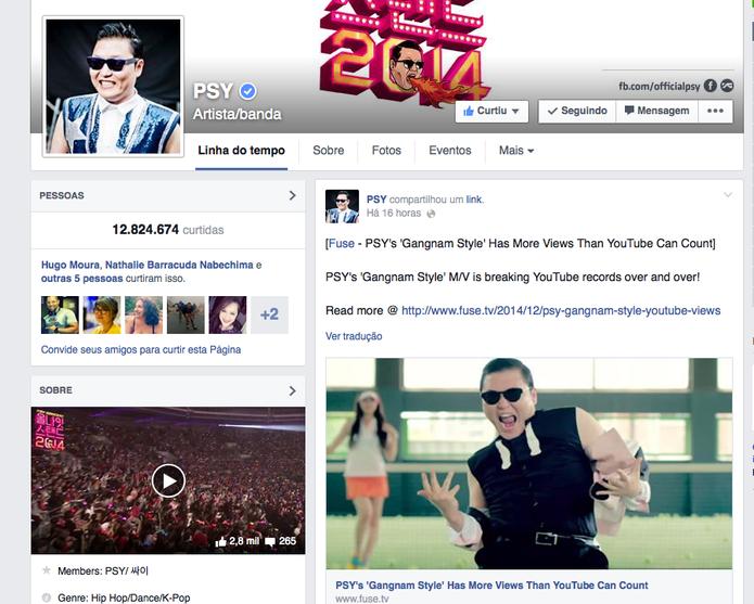 Página oficial de PSY no Facebook celebra mais um recorde que 'quebrou o YouTube' (Foto: Reprodução/YouTube)