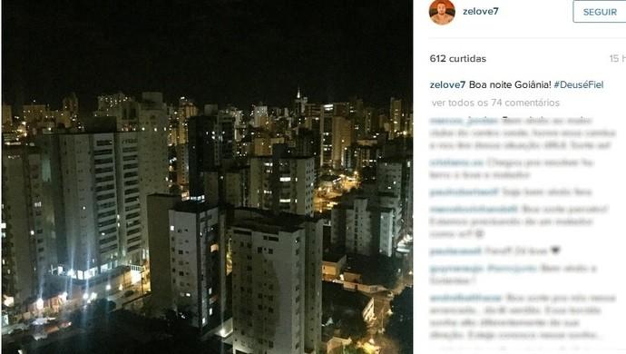 Zé Love chega a Goiânia e posta foto de sua nova cidade em rede social (Foto: Reprodução/Instagram)