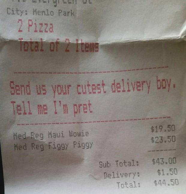 """O pedido feito pela cliente por telefone: """"Mande o entregador mais lindo dizer que eu sou bonita"""" (Foto: Reprodução / Imgur)"""