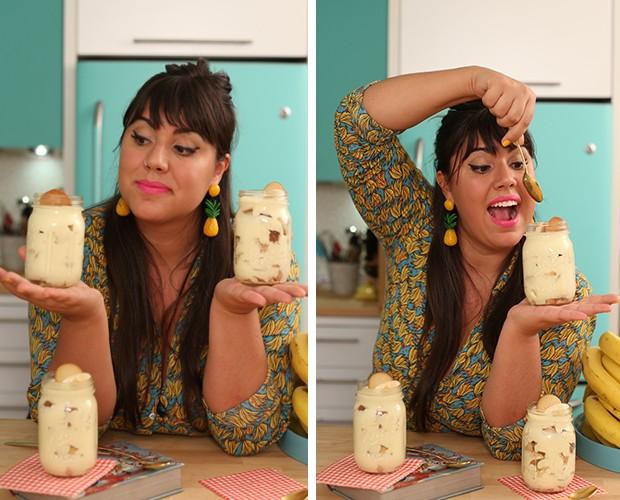 Raíza atacando o delicioso Banana Pudding (Foto: Gshow)