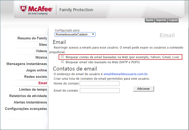 Bloqueio de e-mail do Controle Família (Foto: 01)
