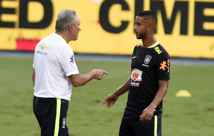 Tite e Jorge, treino seleção brasileira, Estádio Nilton Santos (Foto: André Durão)