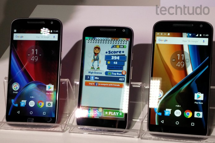Moto G 4 Plus, Moto G 4 Play e Moto G 4 são a nova cara da linha G (Foto: Fabrício Vitorino/TechTudo)