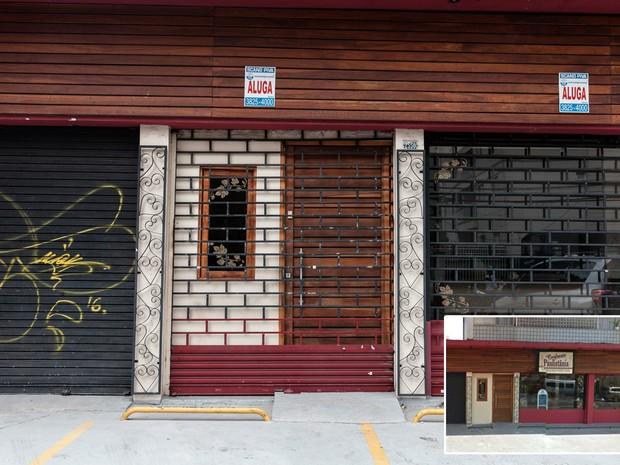 Imóvel onde funcionava comércio de vinho é desocupado nas imediações de fábrica da GM, em São Caetano do Sul, no ABC (Foto: Marcelo Brandt/G1 e Google Street View)