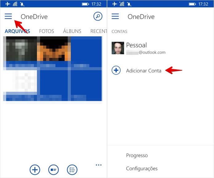 Acesse o menu do aplicativo do OneDrive (Foto: Reprodução/Helito Bijora)