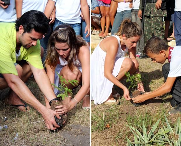 Os famosos plantaram pau-brasil em Coruripe (Foto: Domingão do Faustão / TV Globo)