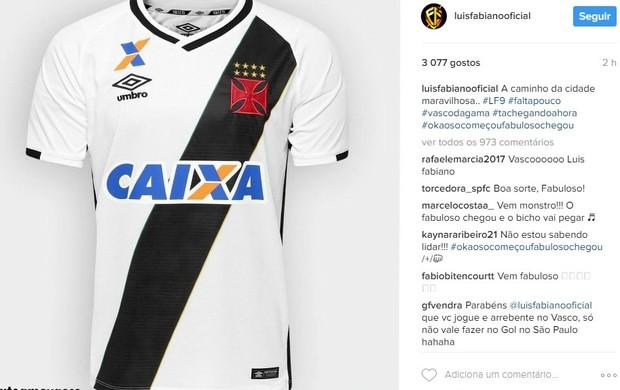 """BLOG: """"A caminho da Cidade Maravilhosa"""", Luis Fabiano posta camisa do Vasco"""