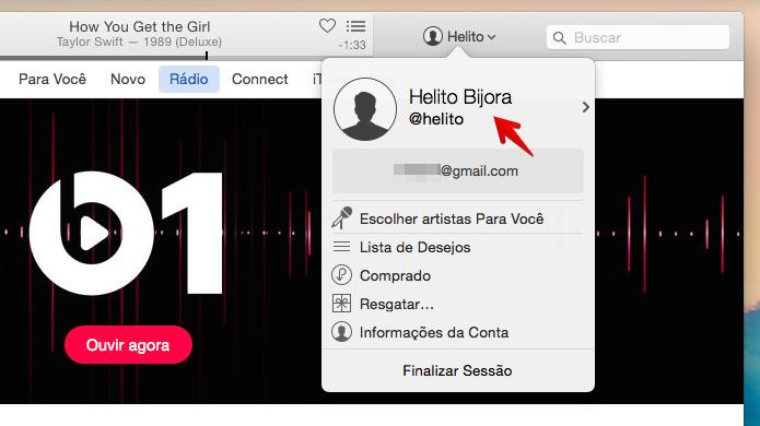 Editando perfil do Connect pelo iTunes (Foto: Reprodução/Helito Bijora)