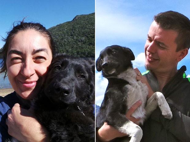 Eleni e Sérgio com cães que ajudaram pelo caminho na viagem à Patagônia (Foto: Projeto Mundo Cão/Divulgação)