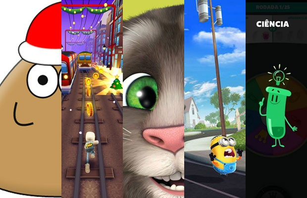 Compilação dos cinco games para smartphones mais baixados do Brasil em 2014 tem 'Pou', 'Subway Surfers', 'Meu Tom Falante', 'Meu Malvado Favorito' e 'Perguntados'. (Foto: Divulgação)