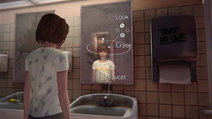 Apague o link do vídeo no espelho do banheiro (Foto: Reprodução/Tais Carvalho)