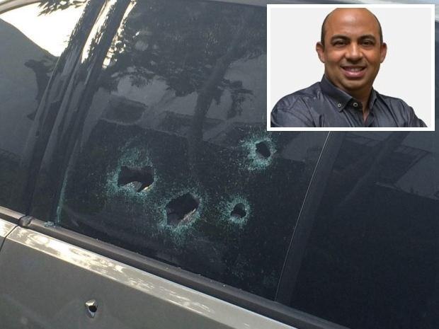 Vereador estava dentro de carro quando foi fuzilado por criminosos em Guarujá (Foto: Adriana Cutino / G1)
