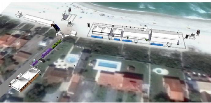 Imagem mostra a estrutura que está sendo montada em Itaúna (Foto: Reprodução WSL)