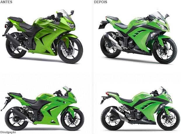 Veja diferenças entre a antiga e a nova geração da Ninja 250 (Foto: Divulgação)