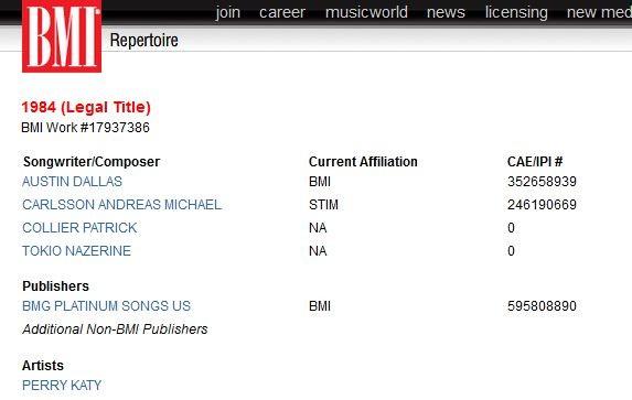 Registro de música de Katy Perry (Foto: BMI / Reprodução)