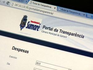 Site da transparência da Câmara de Sumaré (Foto: Reprodução / EPTV)
