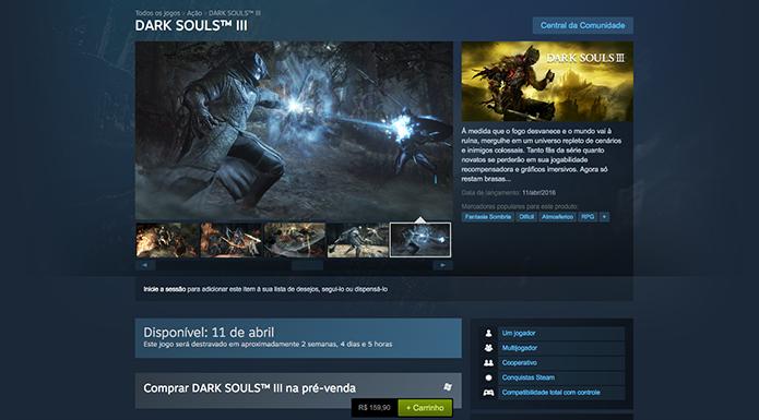 Confira os requisitos de Dark Souls 3 e saiba como reservar o game no PC, Xbox One e PS4 (Foto: Reprodução/Murilo Molina)