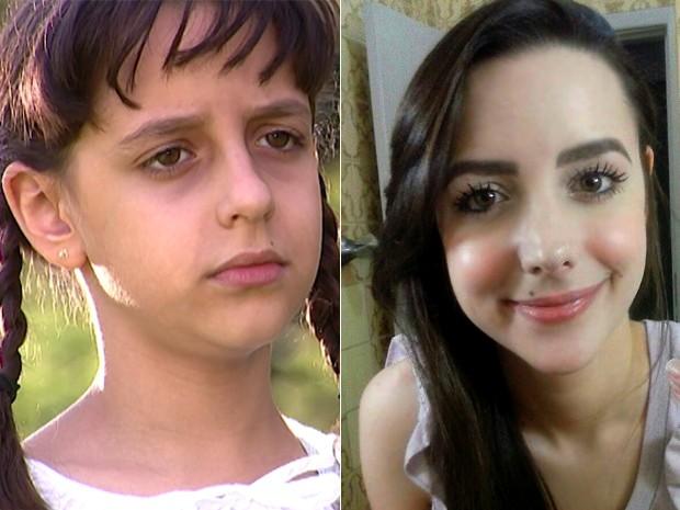 Antes e depois! À esquerda, Jéssica Marina como Sofia e, à direita, em clique atual (Foto: Arquivo Pessoal)