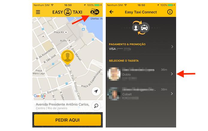 Encontrando um taxista com a função Taxi Connect do Easy Taxi (Foto: Reprodução/Marvin Costa)