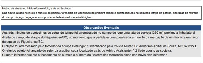 Súmula, latinha, Botafogo x Figueirense (Foto: Reprodução)