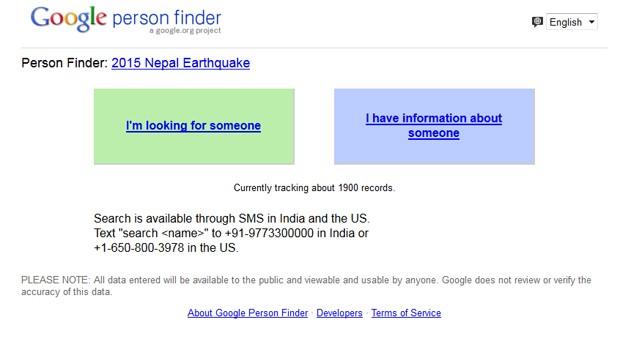 Google lançou ferramenta Person Finder para ajudar a encontrar pessoas na região do terremoto do Nepal (Foto: Reprodução/Google)