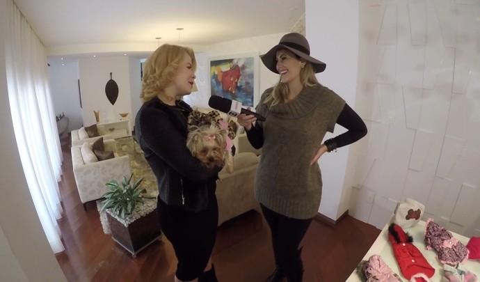 Aline mostra a rotina com a filha canina  (Foto: Reprodução / TV Diário )