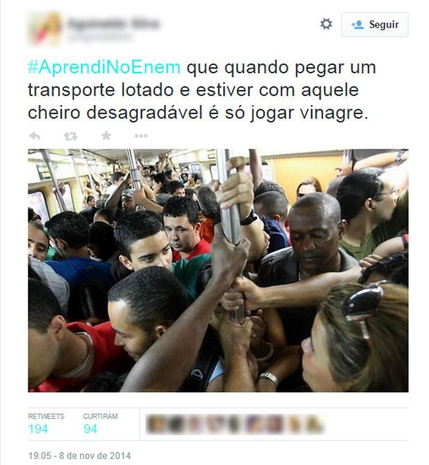 Os candidatos do Enem saíram da prova com outra perspectiva sobre o vinagre (Foto: Reprodução/Twitter/Aguinaldinho)