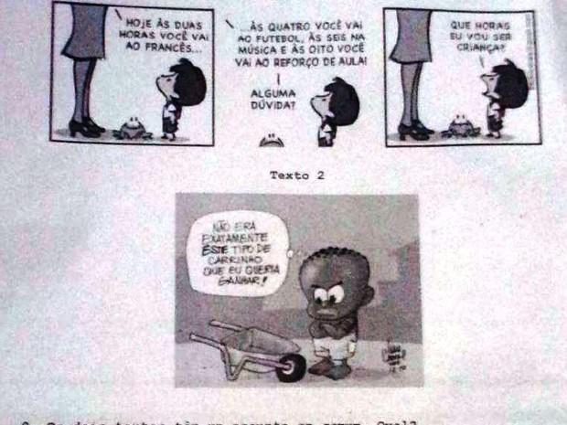 Questão de prova é considerada racista por entidade (Foto: Reprodução/Representação MP)