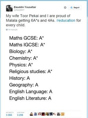Pai de Malala comemorou resultado no Twitter. (Foto: Reprodução/Twitter)