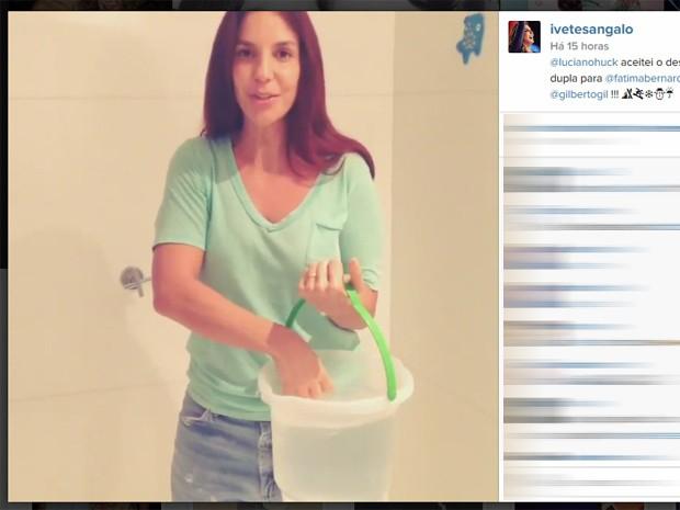 Ivete Sangalo participa do desafio do balde de gelo (Foto: Reprodução/Instagram)
